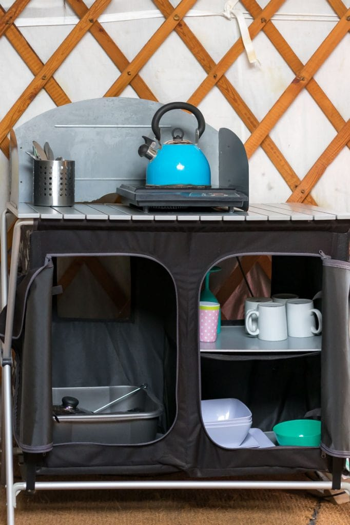Kitchenette in Daisy Yurt at Caalm Camp.