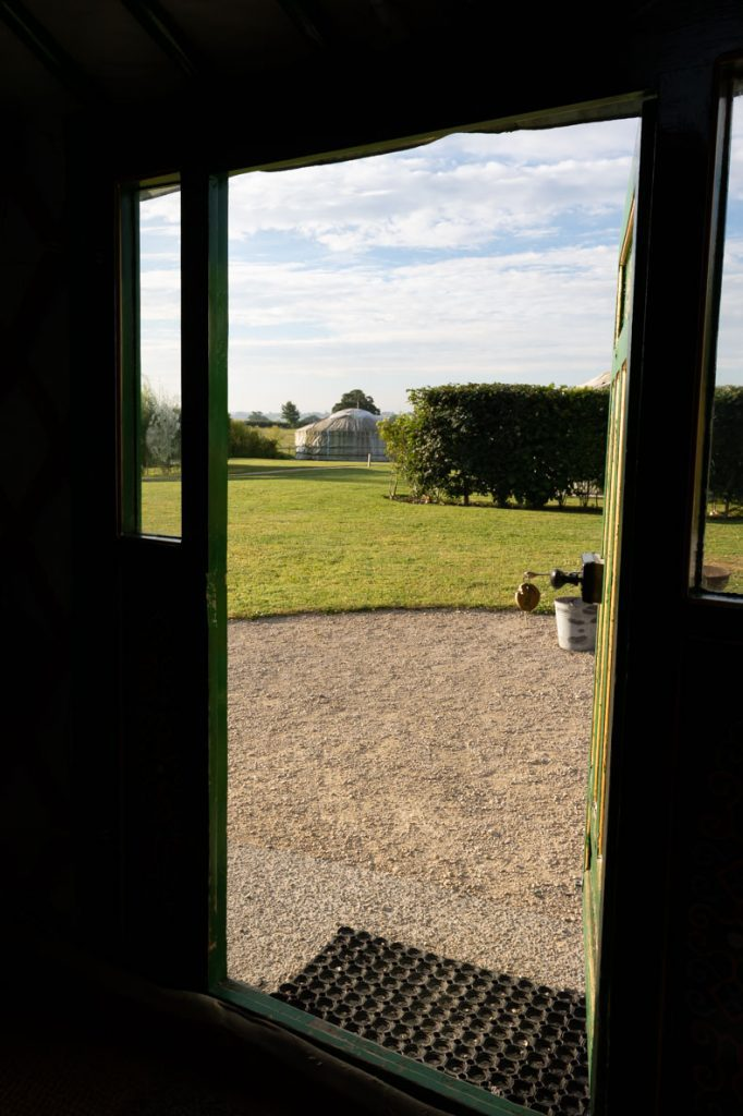 View from inside the Yurt at Caalm Camp, dorset glamping holidays