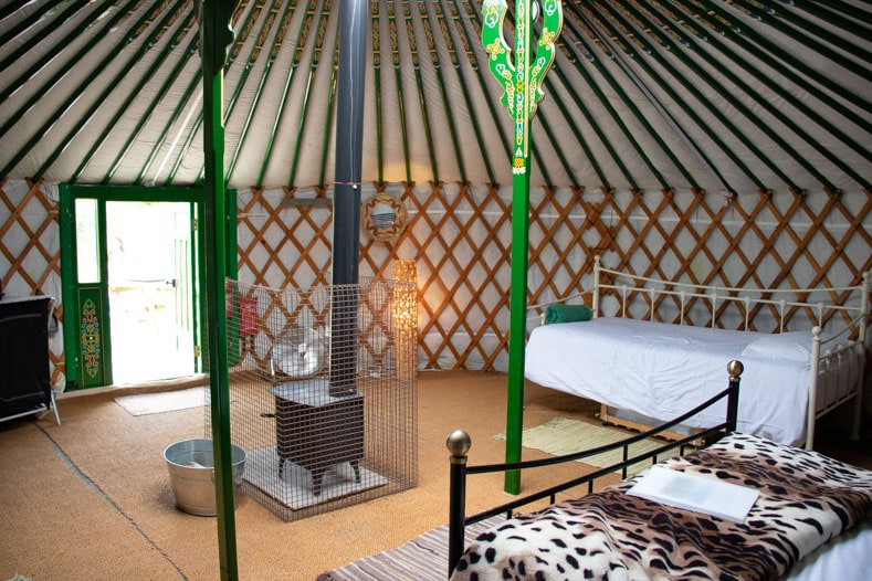 Inside a yurt at Dorset Yurt Glamping - Caalm Camp