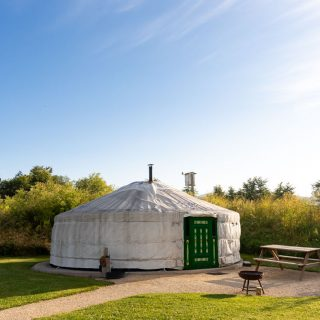 A glamping yurt at Caalm Camp in Dorset, South West England - review of a luxury yurt holiday