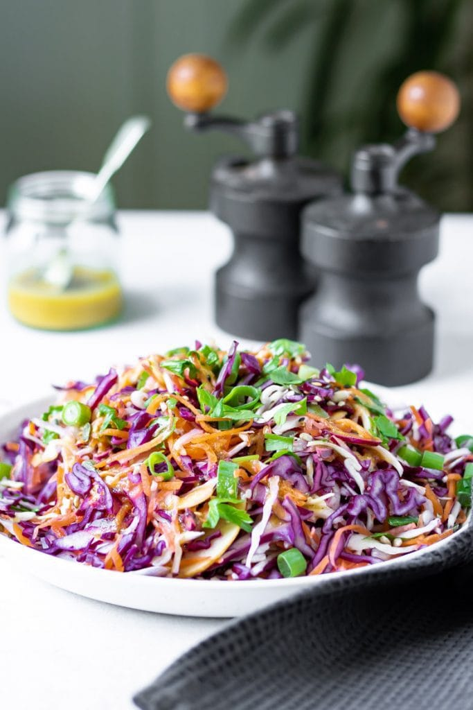 Side view of a plate of cabbage salad, a vinegar based coleslaw with no mayonnaise. With dressing and vintage salt and pepper shakers in the background.