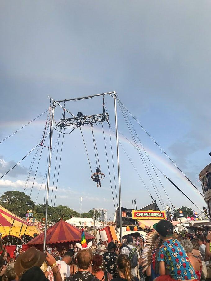 Acrobat above Caravanserai at Camp Bestival 2019