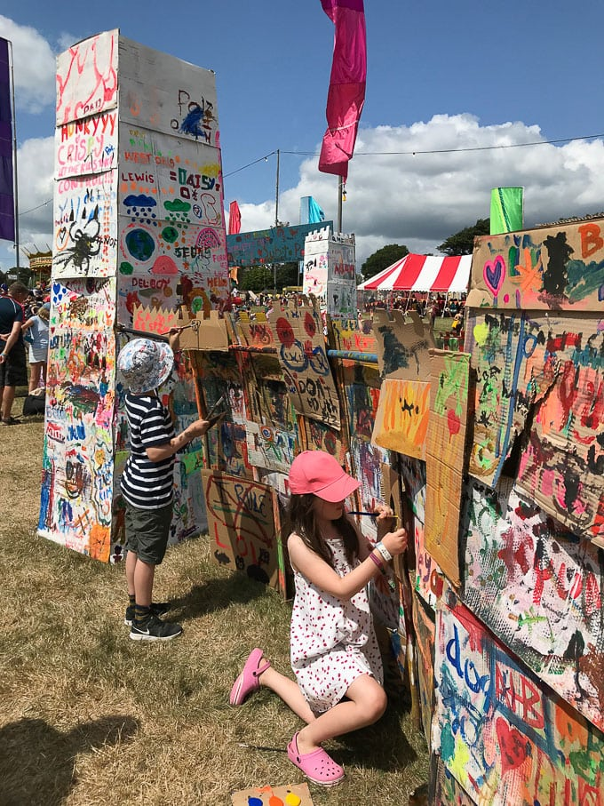 Children painting a cardboard castle - Camp Bestival Review