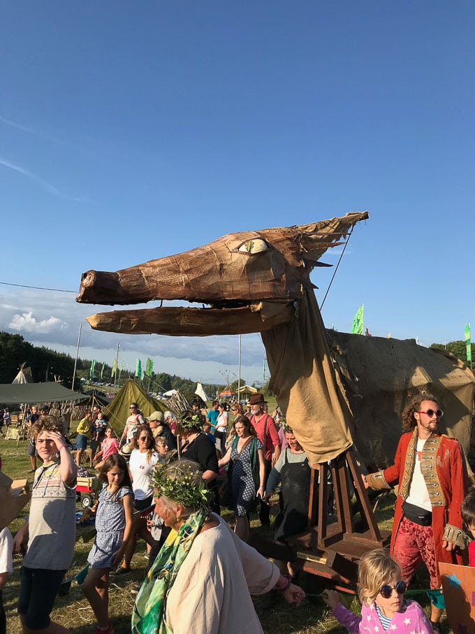 Giant dragon sculpture at Camp Bestival in the Wild Thing field