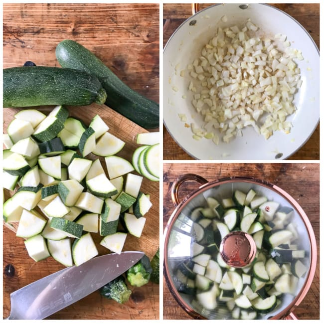 step by step tutorial collage for zucchini soup