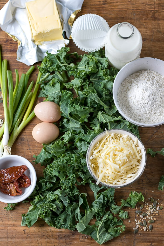 Flat lay of ingredients for Kale Green Muffins - a great vegetarian breakfast recipe