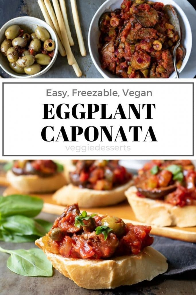 pinnable image for eggplant caponata siciliana