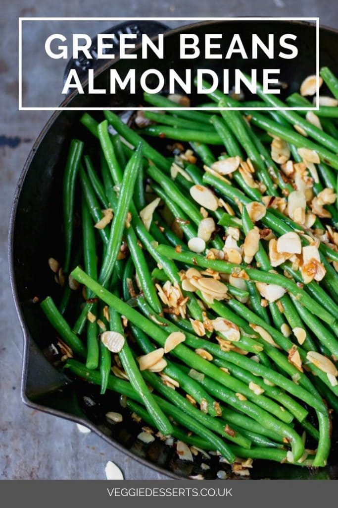 pinnable image for green beans amandine recipe