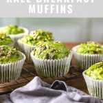 pinnable image for kale green muffins