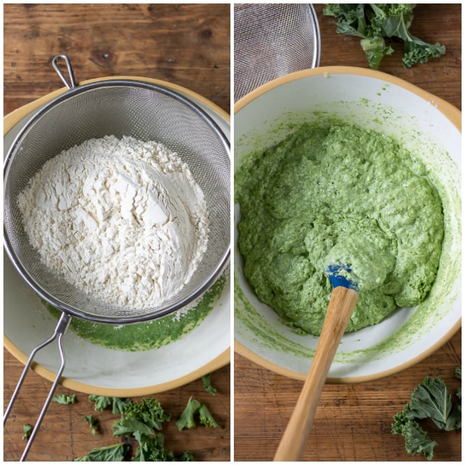 Collage: 1: dry ingredients sifted into bowl, 2: batter mixed.