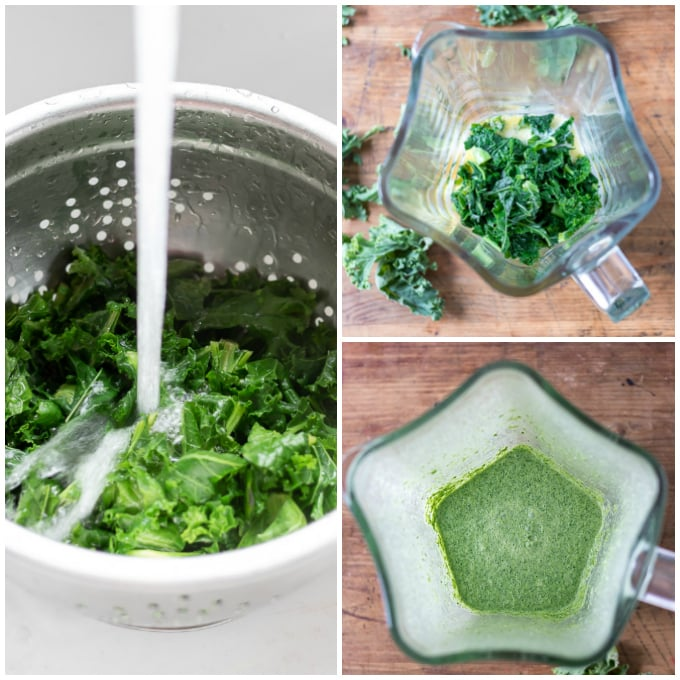 Collage of making kale muffins.