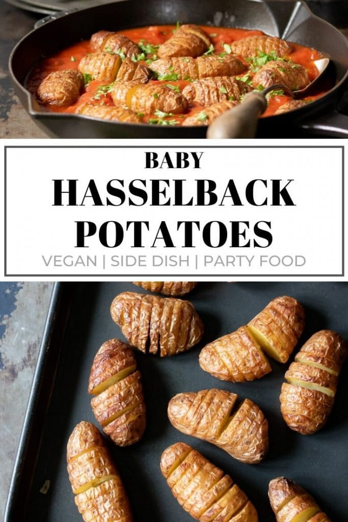 Pinnable image for baby hasselback potatoes recipe