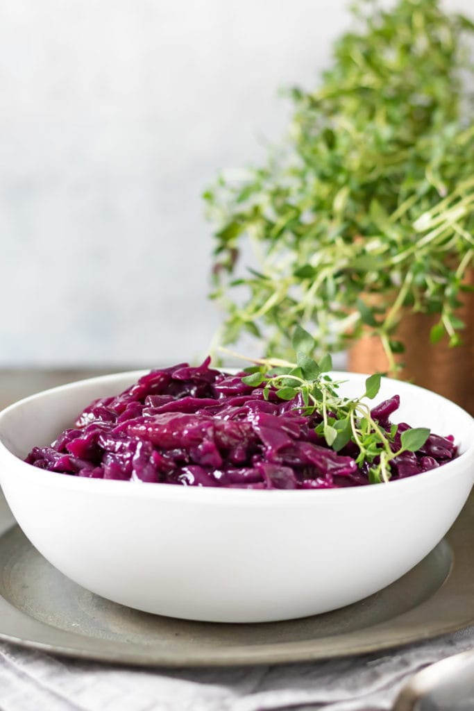 A bowl of braised red cabbage.