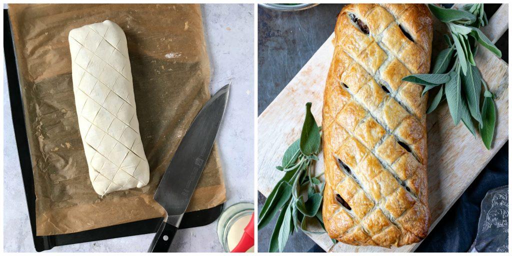 Step by step photos for how to make vegan vegetarian mushroom wellington recipe