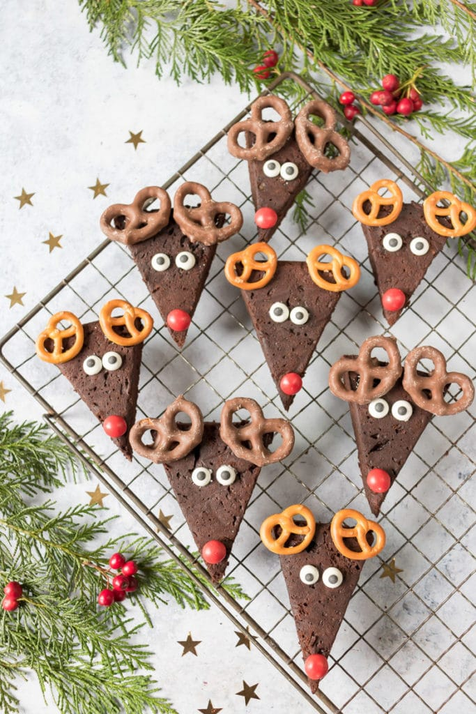 A rack of Reindeer Brownies - a healthier recipe with lower sugar and avocado.