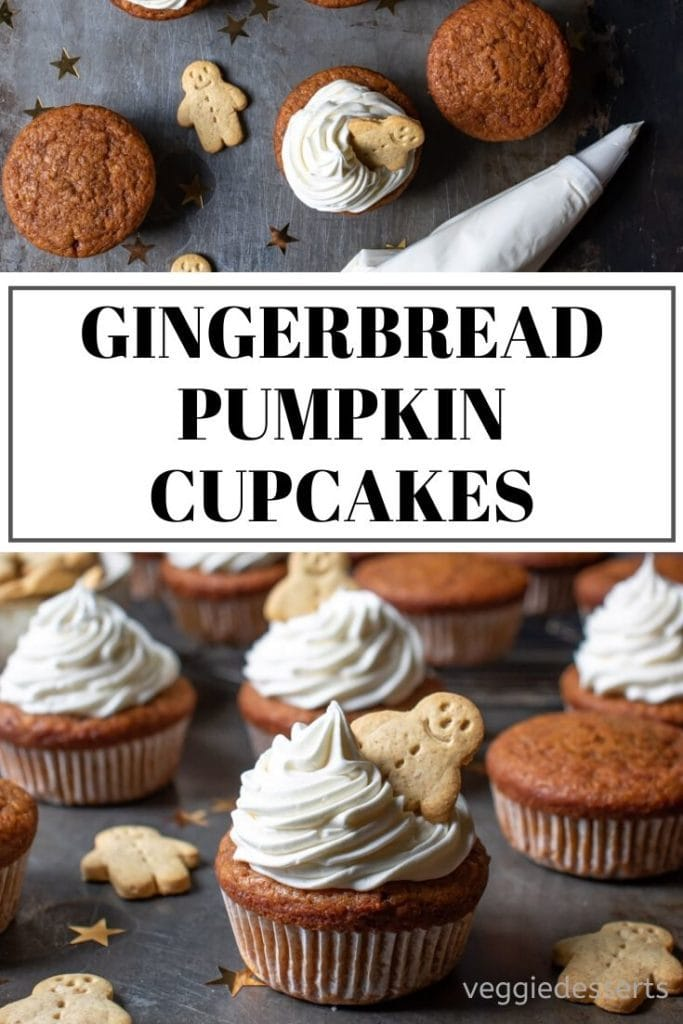 pinnable image for pumpkin gingerbread cupcakes