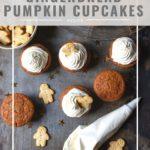 pinnable image for gingerbread pumpkin cupcakes