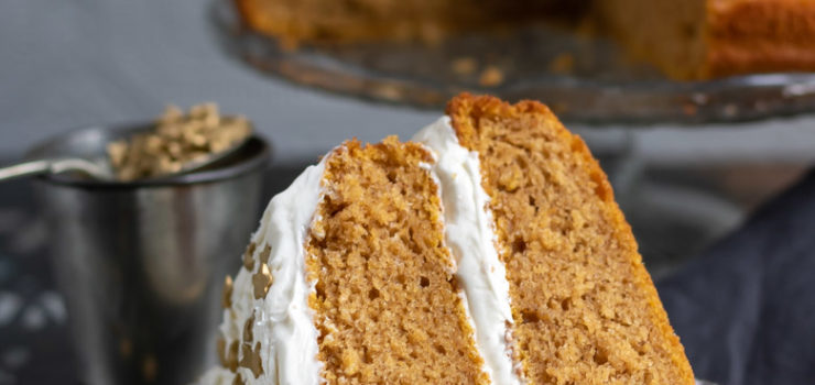 Vegan Pumpkin Cake with Ginger Frosting (1-bowl, easy)