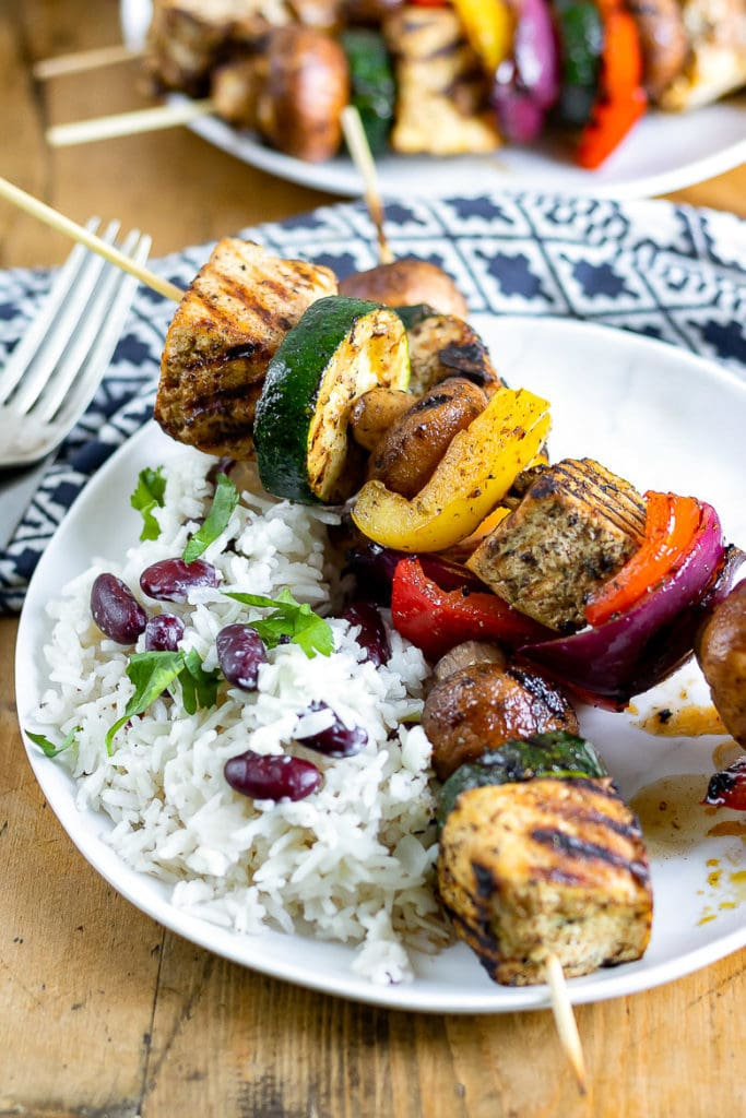 Skewers of Jamaican Jerk Tofu with Vegetables