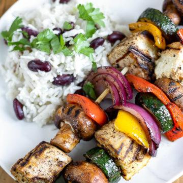 Two Jamaican Jerk Vegetable Tofu Skewers - 15 minute vegan meal