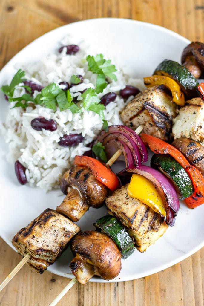 Two Jamaican Jerk Vegetable Tofu Skewers - 15 minute vegan meal