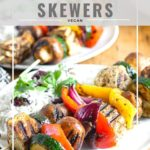 pinnable image for Jamaican jerk tofu skewers with vegetables