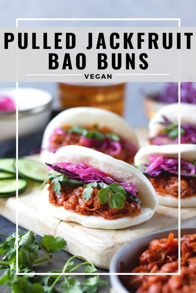 pinnable image for vegan pulled jackfruit bao buns recipe