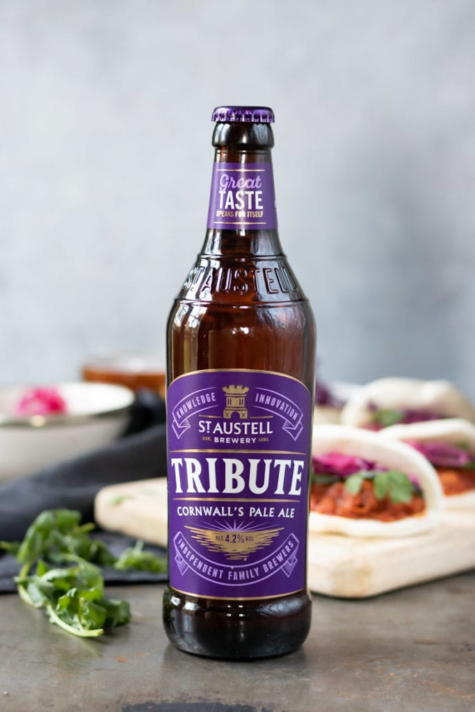 Close up of a bottle of Tribute Ale.