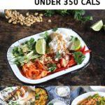 pinnable image for 40 vegan dinners under 350 calories. Vegan diet recipes.