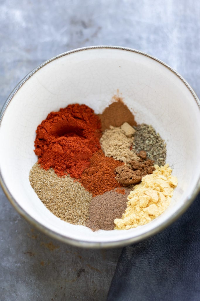 All the ingredients for copycat homemade Old Bay seasoning recipe