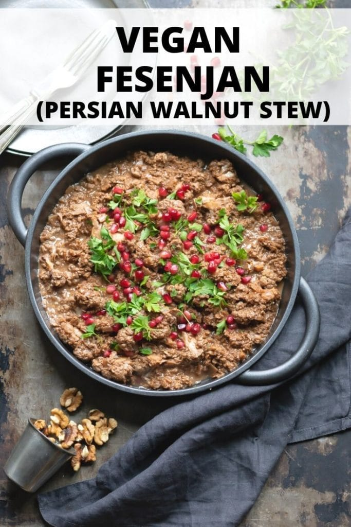Pinnable image for Vegan Fesenjan Persian Stew recipe.