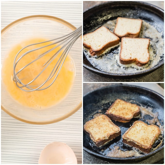 step by step how to make french toast: beat eggs, add milk, whisk, soak, fry