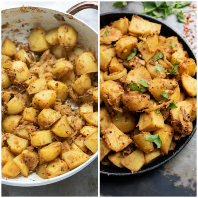 Collage: 1 cooking Bombay aloo, 2 finished dish.