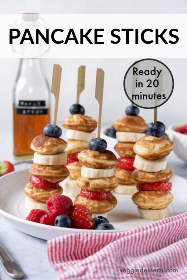 pinnable image for pancake sticks recipe with fruit