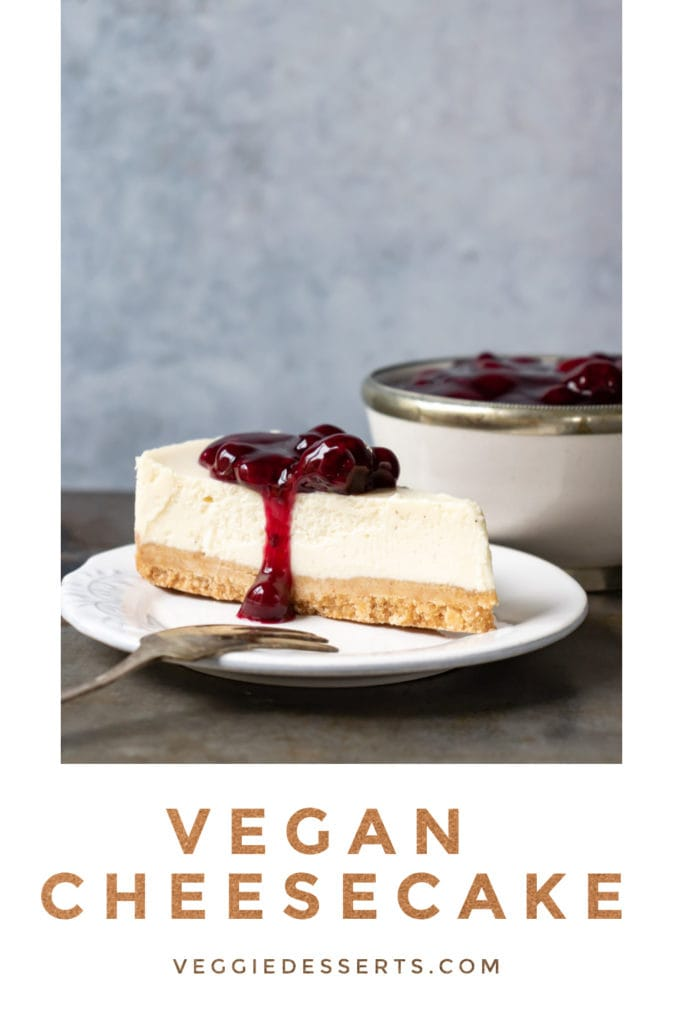 pinnable image for vegan cheesecake