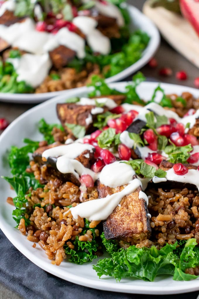 Close up of a plate of Persian Eggplant Salad with grains, tahini dressing, roasted aubergine and pomegranate seeds