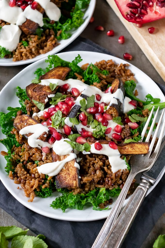 Overhead shot of a plate of Roasted Eggplant Salad with Grains, Tahini Dressing and Pomegranate.