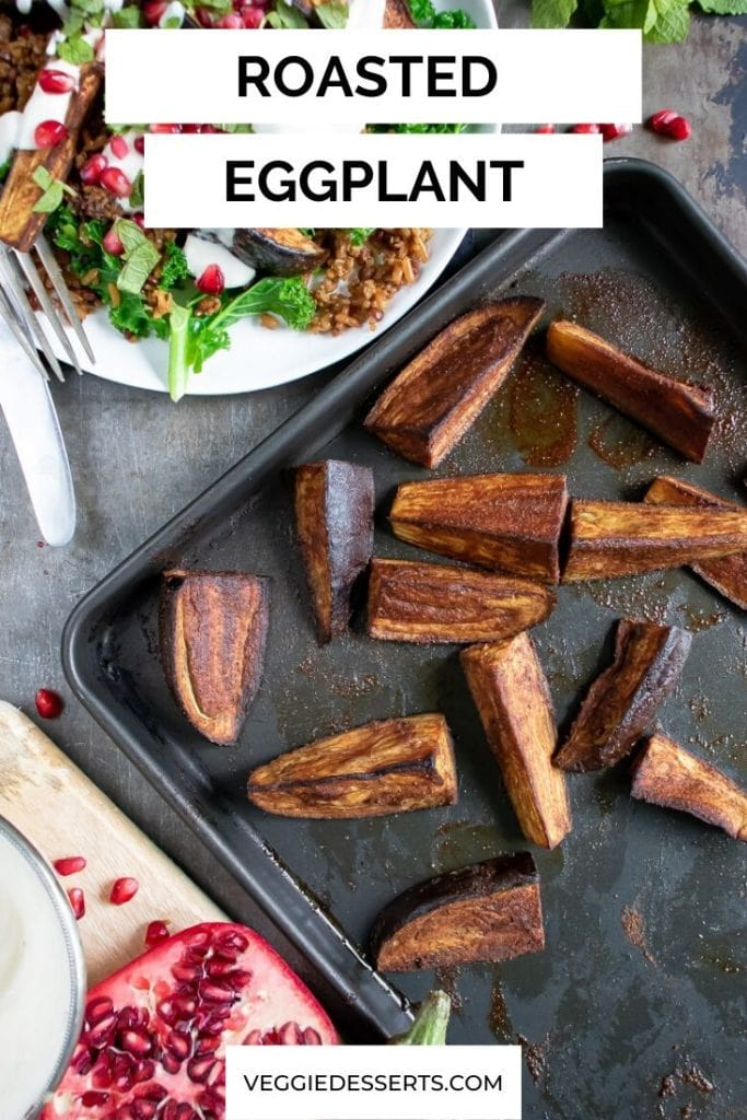 Pinnable image for roasted eggplant aubergine recipe