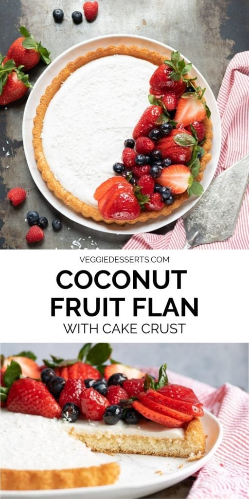 collage of images of coconut berry flan with text overlay.