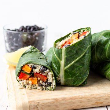 rolls of collards, quinoa, beans and veg.
