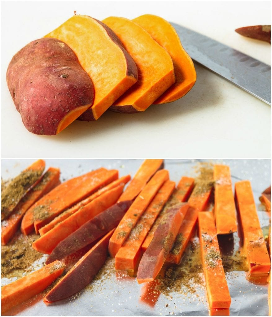 Sweet potatoes being cut into sticks
