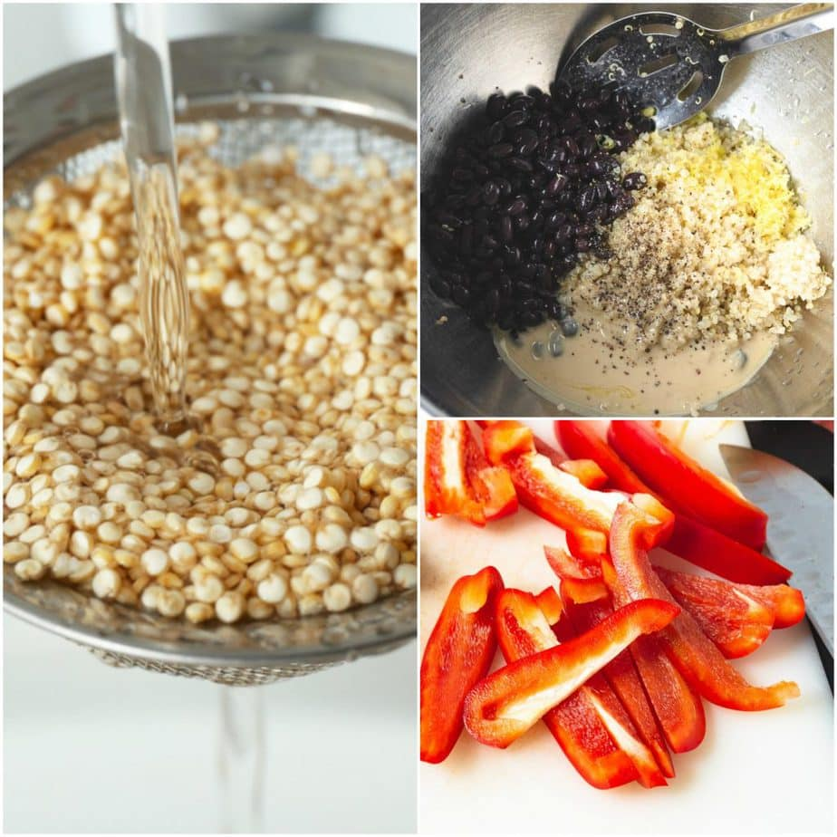 Collage of quinoa being washed, bowl of beans and quinoa, cut peppers.