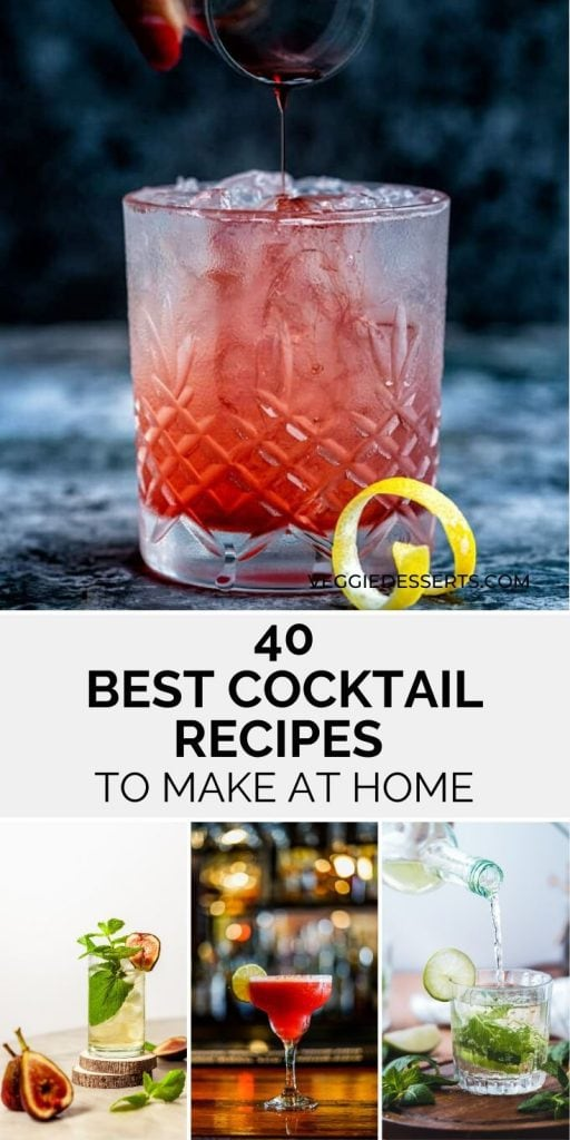 Collage of cocktail recipes with text overlay