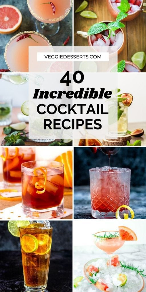 Collage of cocktail pictures.