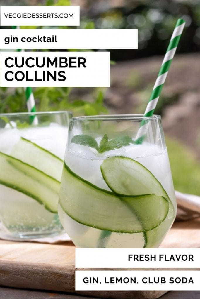 Glass of cucumber collins cocktail with text overlay