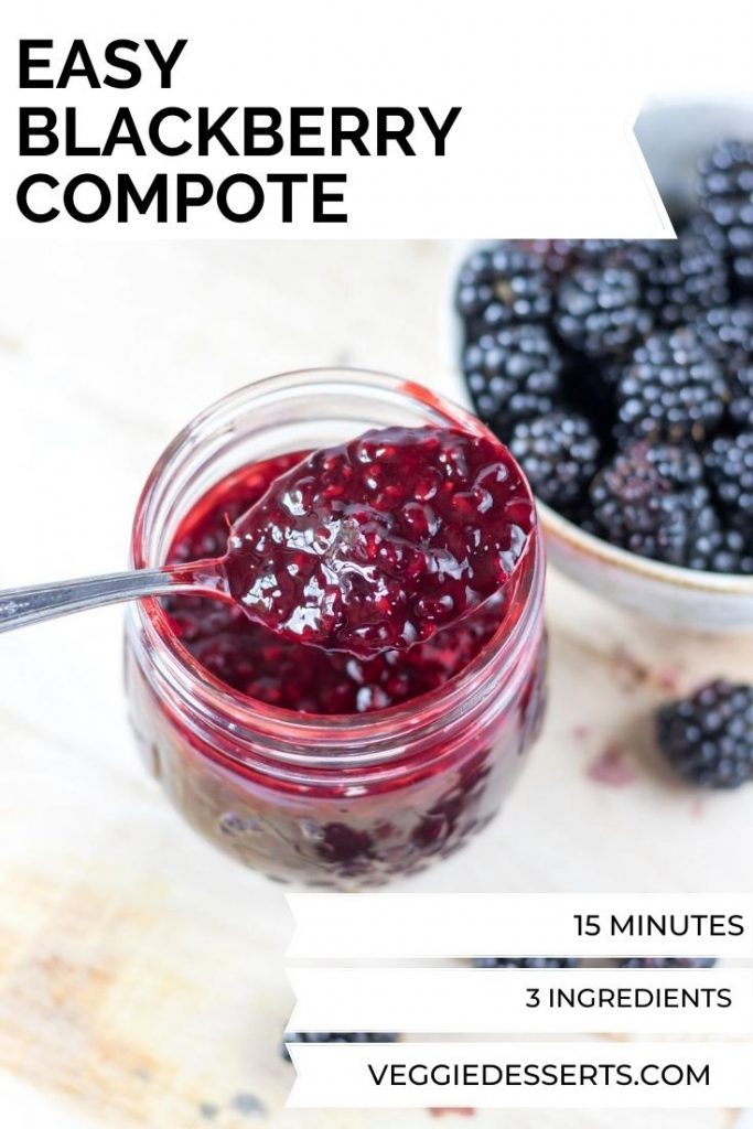 Jar of compote. Text overlay for pinterest.