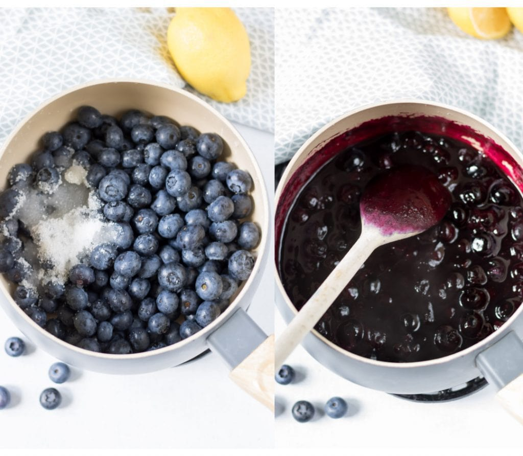 Pot of blueberries.
