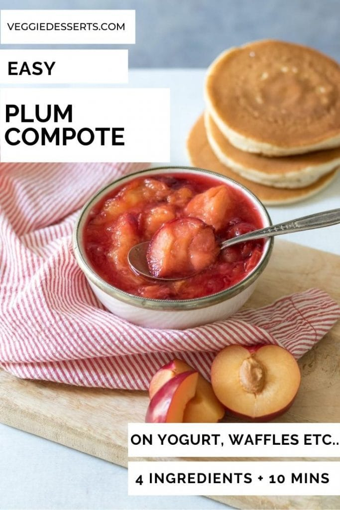 Bowl of plum compote with text overlay.