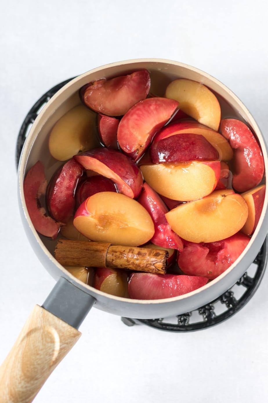 Pot of plums.