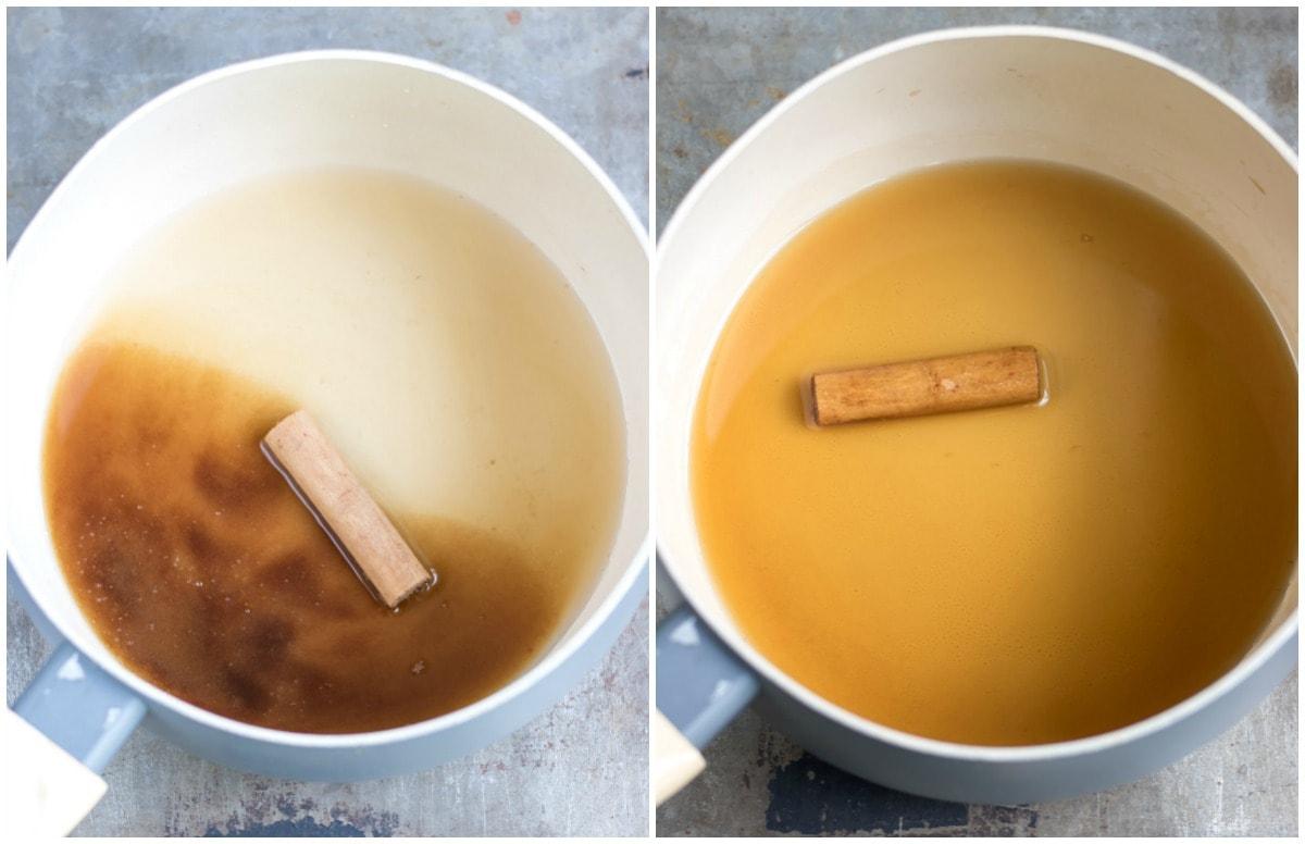 Pot of sugar, water and cinnamon stick.
